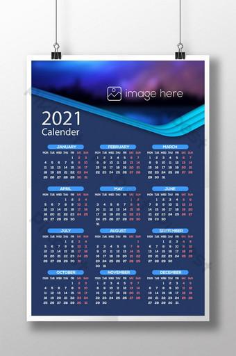 2021 wall calendar single page template Template AI