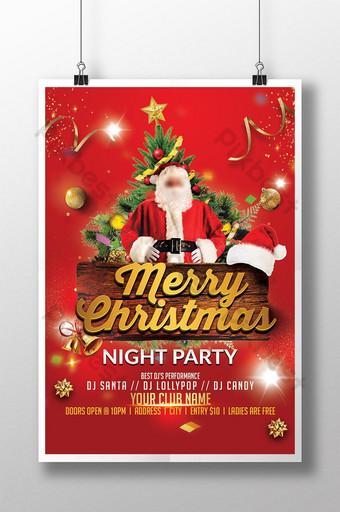 feliz navidad noche fiesta estilo santa claus lujo flyer psd Modelo PSD