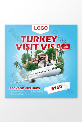 turki melawat visa untuk templat pelancongan templat psd Templat PSD