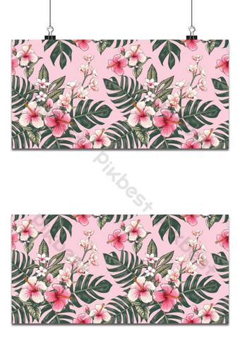 patrón sin costuras hibisco rojo y flores de orquídea fondo rosa Fondos Modelo EPS