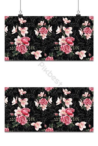 Orquídea rosa botánica de patrones sin fisuras y flores color de rosa sobre fondo negro abstracto Fondos Modelo PSD