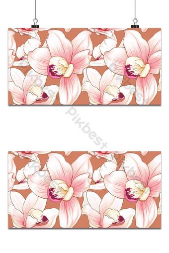Flores de orquídea rosa botánica de patrones sin fisuras sobre fondo blanco abstracto Fondos Modelo EPS