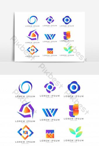 conjunto de 9 plantillas de diseño de logotipo vectorial abstracto con sombreado degradado Elementos graficos Modelo PSD