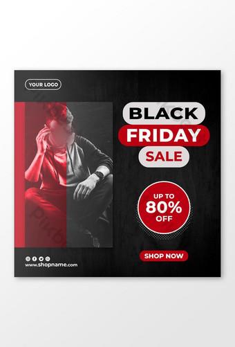 Black Friday Sale Discount Offer Dark Red Social Media Banner Template Design Template PSD