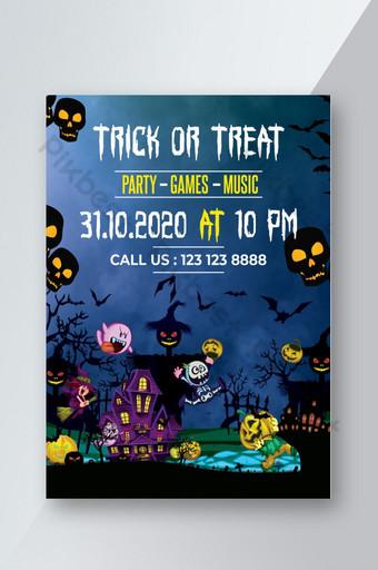 Conception de flyer de fête d'Halloween Photoshop Modèle PSD