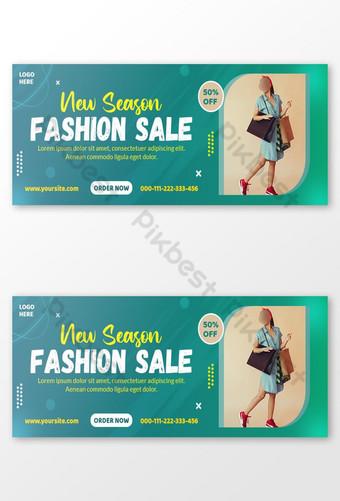 New Season Fashion sale Facebook cover design templates Template PSD