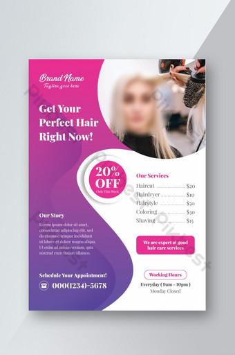Modèle de flyer promotionnel de salon de coiffure Modèle PSD