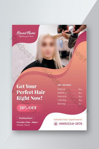 Plantilla de folleto de belleza de salón de pelo Modelo PSD