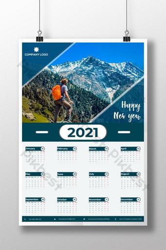2021 Calendar template design vector one page 12 month creative calendar Template AI