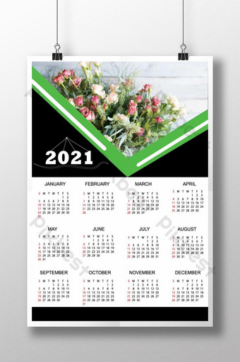 2021 Calendar design vector 12 months one page Template AI