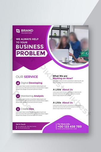 flyer business template avec couleur bleue pour le rapport annuel de la brochure de couverture de mise en page Modèle AI