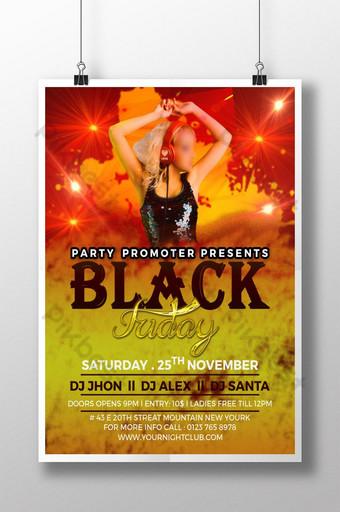 Modèle de conception de flyer Black Friday DJ Party Modèle PSD