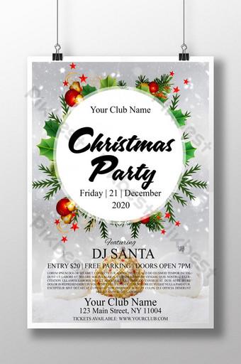 دعوة حفلة عيد الميلاد الرمادية مع العناصر الزخرفية قالب PSD