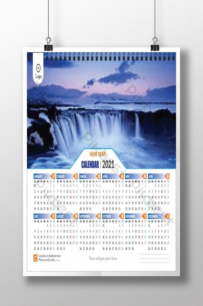 Wall Calendar 2021 Landscape Template Eps Free Download Pikbest