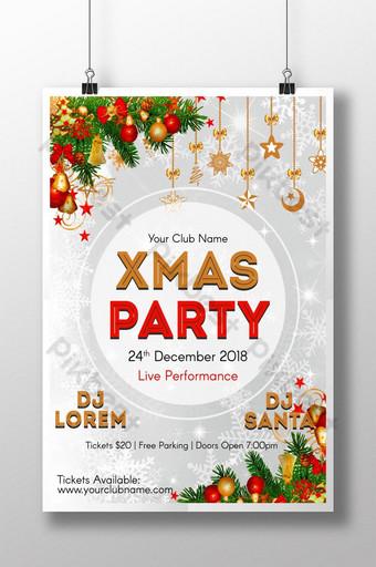 نشرة حزب عيد الميلاد الذهبي والرمادي مع عناصر التصميم قالب PSD