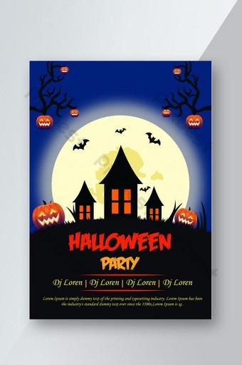 Flyer de fête d'Halloween avec arbre et citrouille Modèle AI Modèle AI