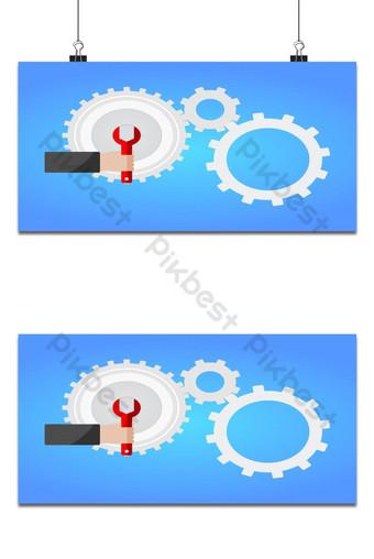 Las manos del mecánico sostienen la llave roja para configurar el engranaje de la rueda dentada plana Fondos Modelo EPS