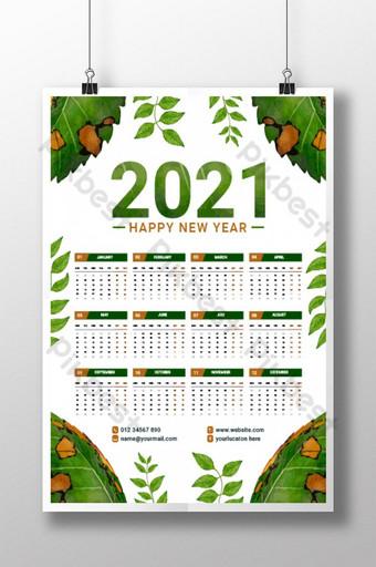 Modèle de calendrier de mur de feuilles vertes 2021 Modèle EPS