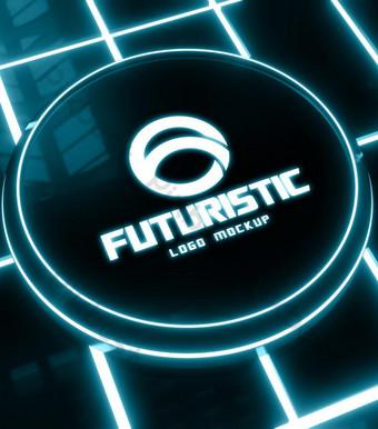 logo futuristic 3d mockup Bản mẫu PSD
