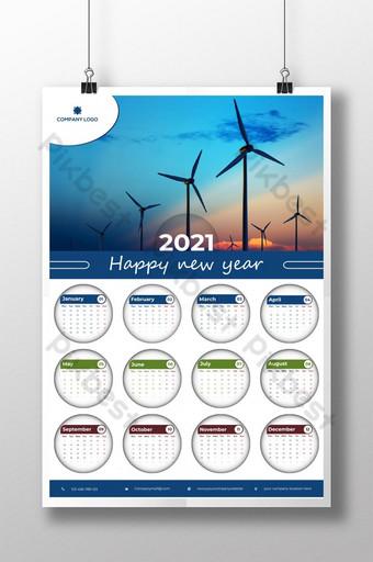 2021 تصميم التقويم شهر شهر شهر دائري تصميم التقويم مع وضع صورة قالب AI