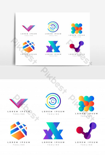 Abstract Colorful Logo Design Vector Template Set for company, corporate identity PNG Images Template EPS