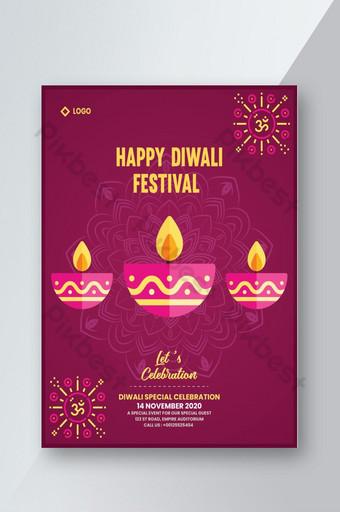 Conception de flyer de célébration joyeux diwali rouge Modèle AI