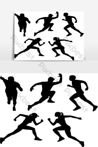 silueta de hombre y mujer de deporte Elementos graficos Modelo EPS