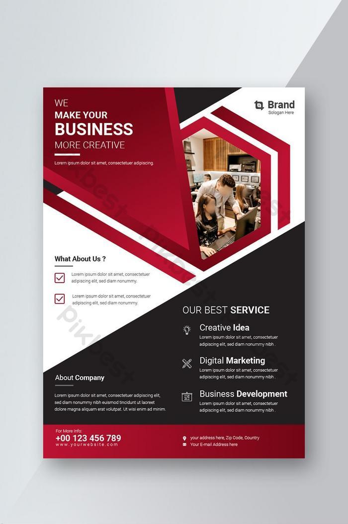 flyer template ng negosyo na may pulang kulay para sa layout ng brochure na cover ng taunang ulat