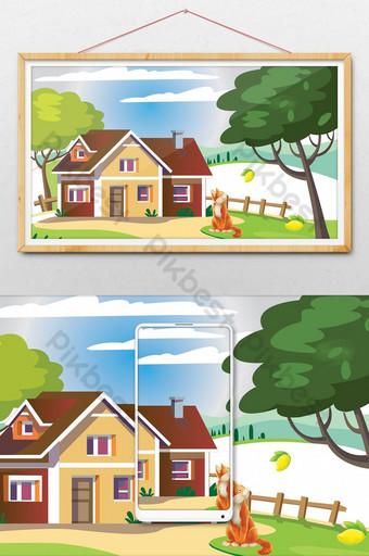 Fichier AI de conception d'illustration de beau paysage Illustration Modèle PSD