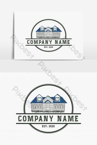 casa vintage logo vector vintage Modelo PSD