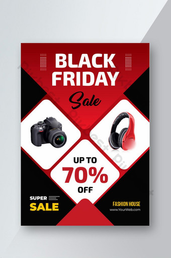Modèle de flyer pour la promotion de la vente Black Friday avec des images de produit d'exemple Modèle EPS