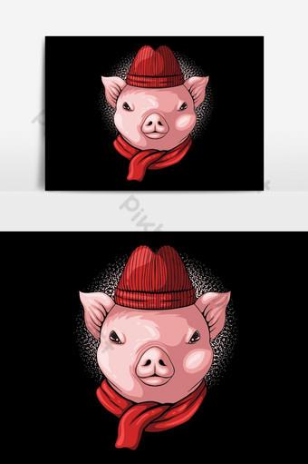 Ilustración de vector de gorrita tejida y bufanda de cabeza de cerdo Elementos graficos Modelo EPS