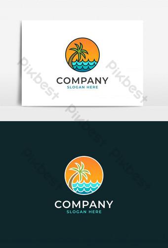 logotipo de vector de plantilla colorida de la isla, logotipo de playa tropical único moderno simple Elementos graficos Modelo AI