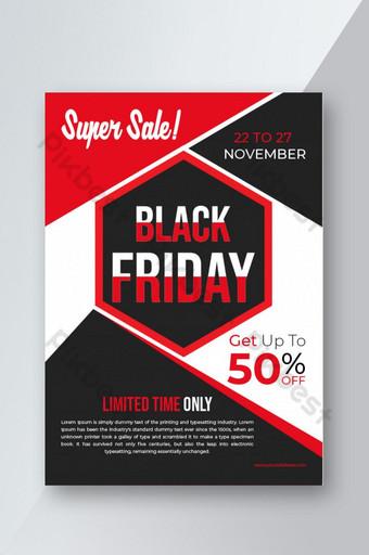 Conception de modèle de flyer super vente vendredi noir Modèle AI