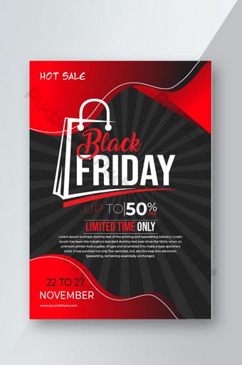 Conception de modèle de flyer de vente vendredi noir moderne Modèle AI
