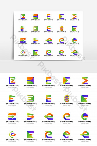 set of colorful e letter logo design vector for business and UI app. iconic e letter logo PNG Images Template EPS
