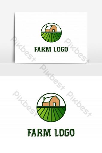 تصميم شعار بيت المزرعة الخضراء الملونة ناقلات قالب صور PNG قالب AI