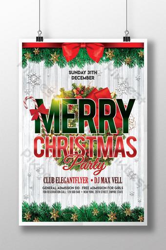 Affiche de fête de joyeux Noël moderne Modèle PSD