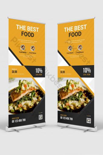 rak display bisnis makanan restoran modern x spanduk mengatur desain tata letak vertikal Templat AI