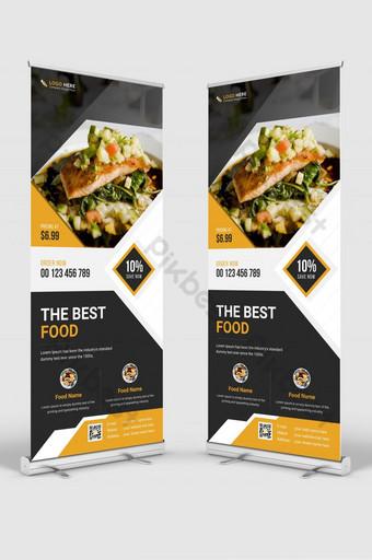 Restaurant modern Food Business roll up Standee X-banner set Vertical Layout design. Template AI