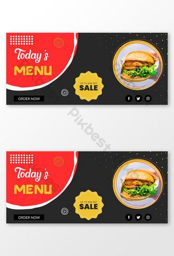 menu du jour offre spéciale bannière publication sur les médias sociaux Modèle EPS