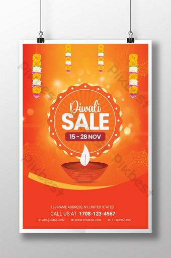 Thème orange Grande offre de vente Diwali Flyer Modèle PSD