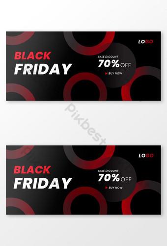 Conjunto de banner de venta de redes sociales de viernes negro plantilla de banner de venta abstracto rojo y negro Modelo AI