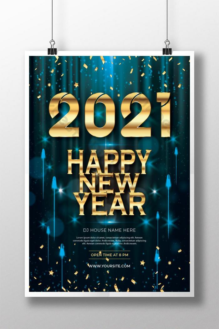 Happy New Year 2021 Gorgeous Poster Design Template Ai Free Download Pikbest