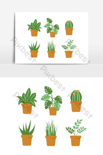 vektor pot tanaman daun hijau Elemen Grafis Templat EPS