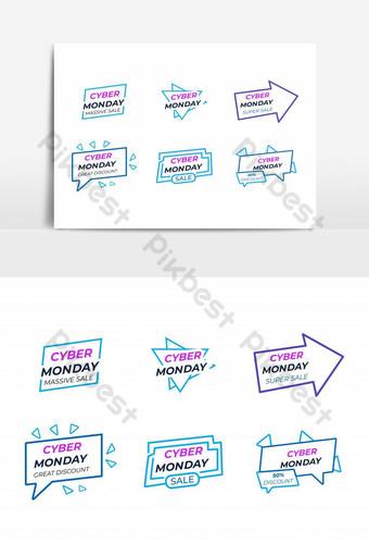 plantilla de vector de conjunto de iconos de venta de viernes negro Elementos graficos Modelo EPS
