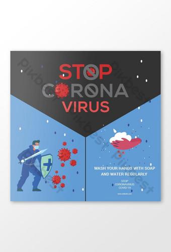 Detener la plantilla de diseño de banner de redes sociales del virus corona Modelo AI