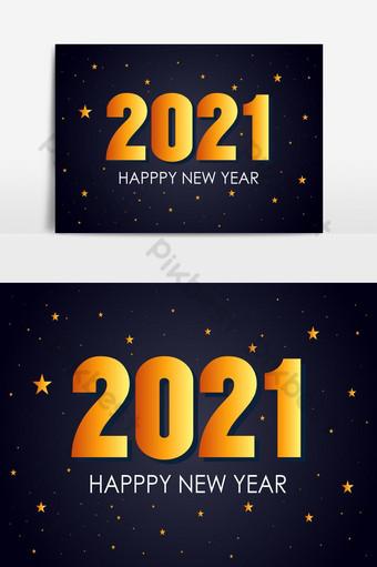 feliz año nuevo 2021 vector de diseño de fondo con estrella invitación de celebración de año nuevo Elementos graficos Modelo EPS