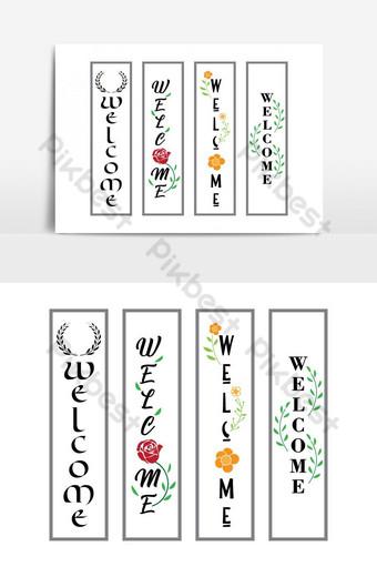 selamat datang template vertikal tanda teras Elemen Grafis Templat EPS
