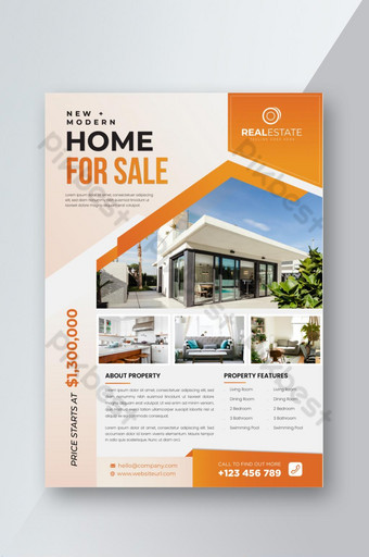 Modèle de Flyer de vente de maison immobilière Modèle EPS